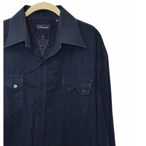 7 Diamonds Navy Long Sleeve Button Down Shirt XXL